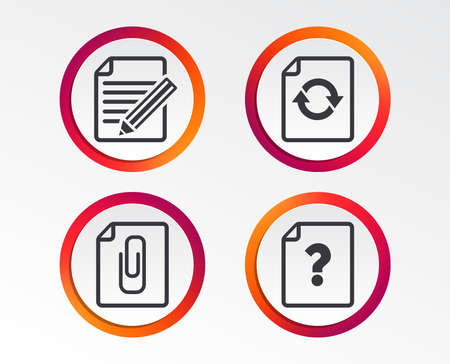 File refresh icons. Question help and pencil edit symbols. Paper clip attach sign. Infographic design buttons. Circle templates.