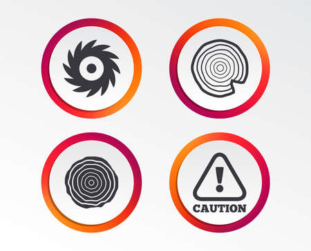 Wood and saw circular wheel icons. Attention caution symbol. Sawmill or woodworking factory signs. Infographic design buttons. Circle templates. Иллюстрация