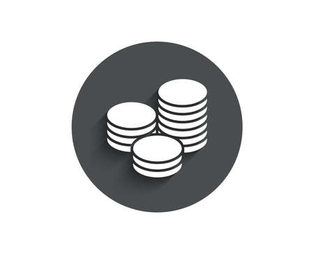 Coins money simple icon. Banking currency sign. Cash symbol. Circle flat button with shadow.