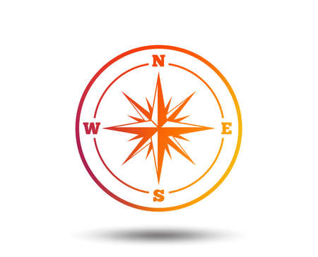 Compass sign icon. Windrose navigation symbol. Blurred gradient design element. Vivid graphic flat icon.