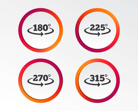 Angle 180-315 degrees icons. Geometry math signs symbols. Full complete rotation arrow. Infographic design buttons. Circle templates.