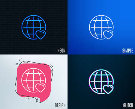 Glitch, Neon effect. International Love line icon. Heart with Globe symbol. Valentines day sign. Trendy flat geometric designs.