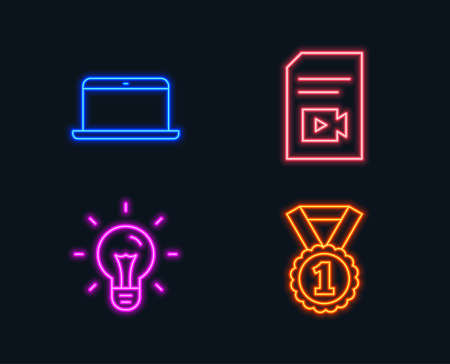 Neon lights. Set of Idea, Laptop and Video file icons. Best rank sign. Light bulb, Mobile computer, Vlog page. Success medal. Glowing graphic designs.