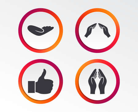Hand icons. Like thumb up symbol. Insurance protection sign. Human helping donation hand. Prayer hands. Infographic design buttons. Circle templates. Illustration