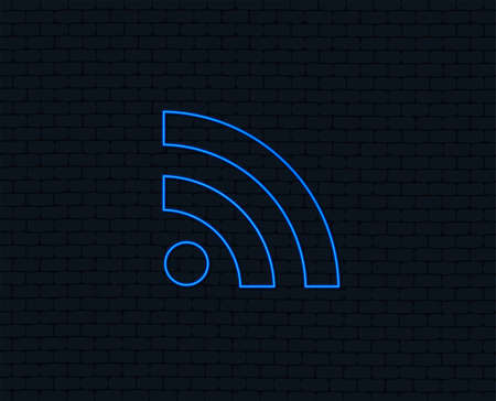 Neon light. RSS sign icon. RSS feed symbol. Glowing graphic design. Brick wall. Vector Illustration