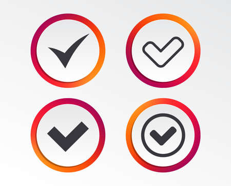 Check icons. Checkbox confirm circle sign symbols. Infographic design buttons. Circle templates.