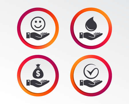 Smile and hand icon. Water drop and Tick or Check symbol. Palm holds Dollar money bag. Infographic design buttons. Circle templates.