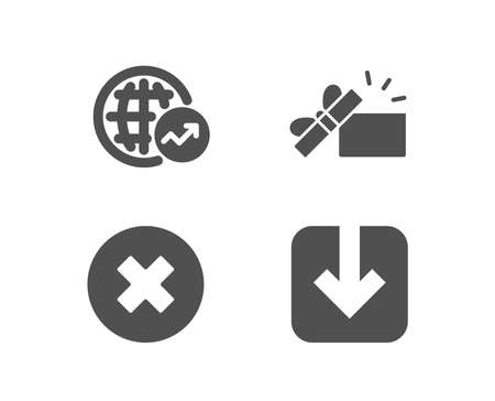 Set of World statistics, Opened gift and Close button icons. Load document sign. Global report, Present box, Delete or decline. Download arrowhead. Quality design elements. Classic style.