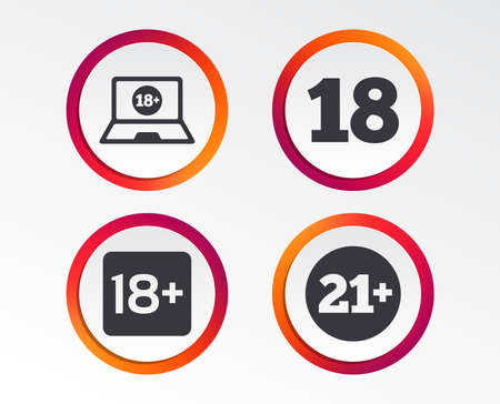 Adult content icons. Eighteen and twenty-one plus years sign symbols. Notebook website notice. Infographic design buttons. Circle templates.