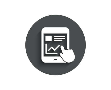 Online Education simple icon. Tablet PC sign. Web presentation with Charts symbol. Circle flat button with shadow.