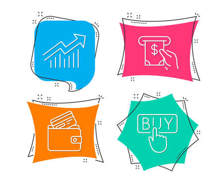 Set of Demand curve, Atm service and Debit card icons. Buying sign. Statistical report, Cash investment, Wallet with credit card. E-commerce shopping.  Flat geometric colored tags. Vivid banners