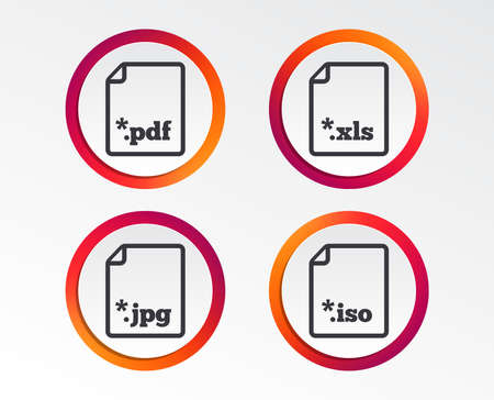 Download document icons. File extensions symbols. PDF, XLS, JPG and ISO virtual drive signs. Infographic design buttons. Circle templates.
