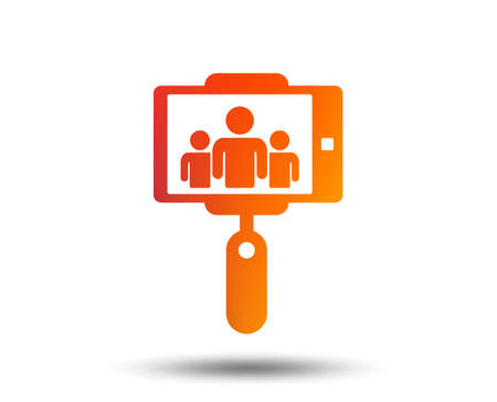 Monopod selfie stick icon. Self portrait with group of people. Blurred gradient design element. Vivid graphic flat icon.