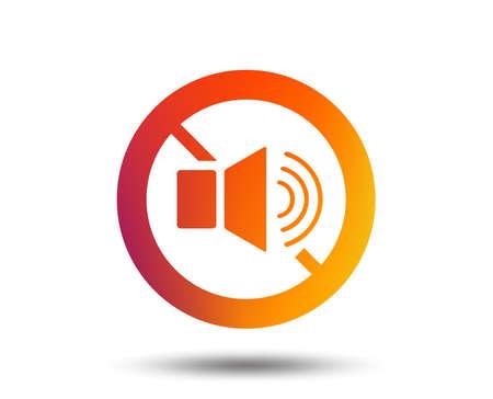 Speaker volume sign icon. No Sound symbol. Blurred gradient design element. Vivid graphic flat icon.