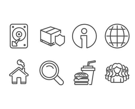Set of Hamburger, Globe and Search icons. Delivery insurance, Hdd and Women group signs. Burger with drink, Internet world, Magnifying glass. Parcel protection, Hard disk, Lady service.