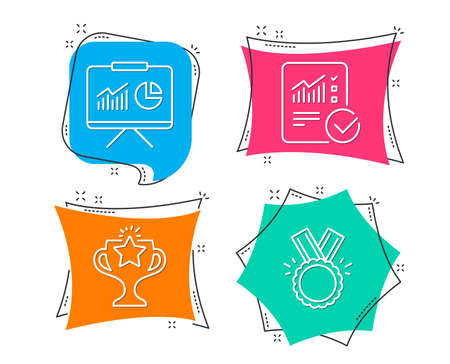 Set of Victory, Checked calculation and Presentation icons. Honor sign. Championship prize, Statistical data, Board with charts. Medal. Flat geometric colored tags. Vivid banners. Ilustrace