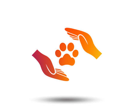Protection of animals sign icon. Hands protect paw symbol. Shelter for dogs. Animals insurance. Blurred gradient design element. Vivid graphic flat icon.