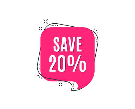 Save 20% off. Sale Discount offer price sign. Special offer symbol. Speech bubble tag. Trendy graphic design element. Çizim