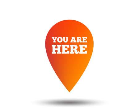 You are here sign icon. Info map pointer with your location. Blurred gradient design element. Vivid graphic flat icon.