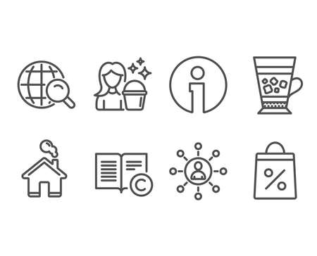 Set of Frappe, Ð¡opyright and Cleaning icons. Networking, Internet search and Shopping bag signs. Cold drink, Copywriting book, Maid service. Business communication, Web finder, Supermarket discounts