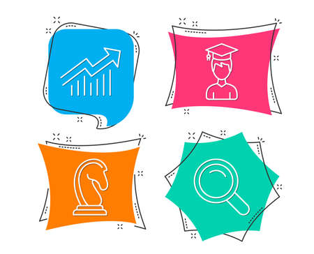 Set of Student, Marketing strategy and Demand curve icons. Search sign. Graduation cap, Chess knight, Statistical report. Magnifying glass.  Flat geometric colored tags. Vivid banners. Vector