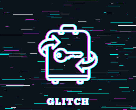 Glitch effect. Luggage room line icon. Baggage Locker sign. Travel service symbol. Background with colored lines.