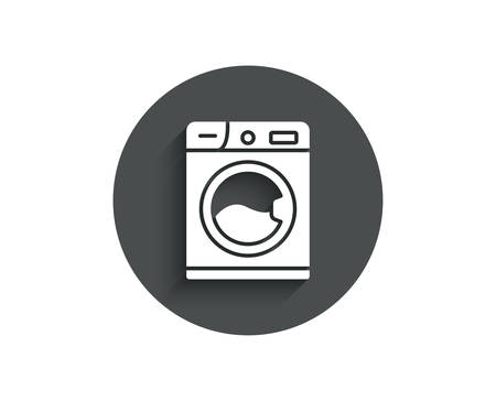 Washing machine simple icon. Cleaning service symbol. Laundry sign. Circle flat button with shadow. Illusztráció