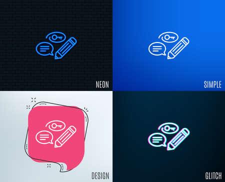 Glitch, Neon effect. Keywords line icon. Pencil with key symbol. Marketing strategy sign. Trendy flat geometric designs. Illustration