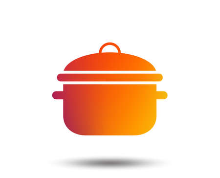 Cooking pan sign icon. Boil or stew food symbol. Blurred gradient design element. Vivid graphic flat icon.