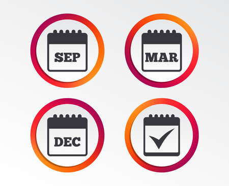 Calendar icons. September, March and December month symbols. Check or Tick sign. Date or event reminder. Infographic design buttons. Circle templates.