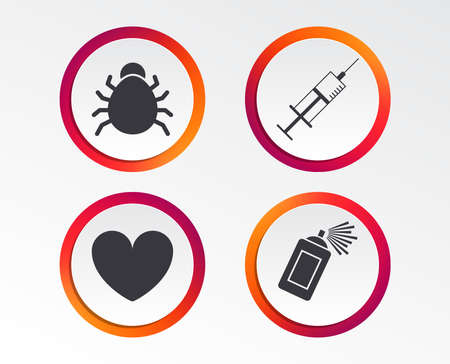 Bug and vaccine syringe injection icons. Heart and spray can sign symbols. Infographic design buttons. Circle templates.