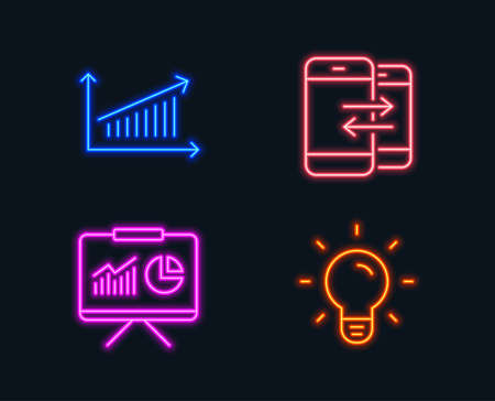 Neon lights. Set of Presentation, Chart and Phone communication icons. Light bulb sign. Board with charts, Presentation chart, Incoming and outgoing calls. Lamp energy.  Glowing graphic designs Illustration