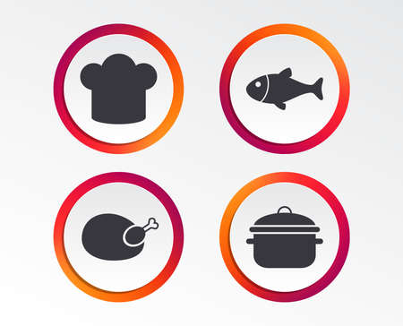 Chief hat and cooking pan icons. Fish and chicken signs. Boil or stew food symbol. Infographic design buttons. Circle templates. Illustration