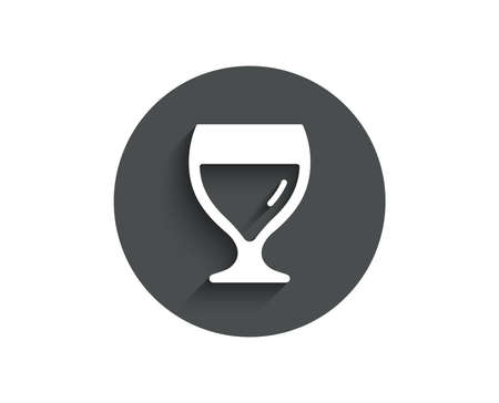 Wine glass simple icon. Alcohol drink sign. Beverage symbol. Circle flat button with shadow.