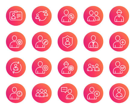 Users line icons. Profile, Group and Support signs. ID card, Teamwork and Businessman symbols. Person talk, Engineer and Human Management. Trendy gradient circle buttons. Quality design elements Illustration