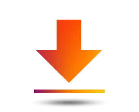 Download icon. Upload button. Load symbol. Blurred gradient design element. Vivid graphic flat icon. Ilustrace
