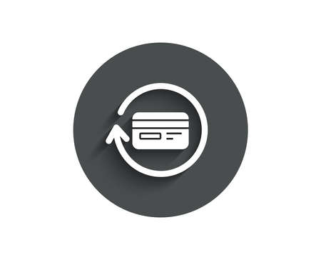 Credit card simple icon. Banking Payment card sign. Cashback service symbol. Circle flat button with shadow. Illustration