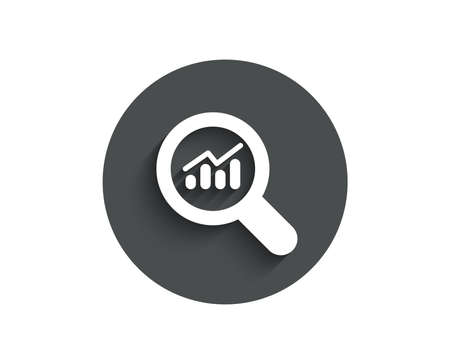 Chart simple icon. Report graph or Sales growth sign in Magnifying glass. Analysis and Statistics data symbol. Circle flat button with shadow.