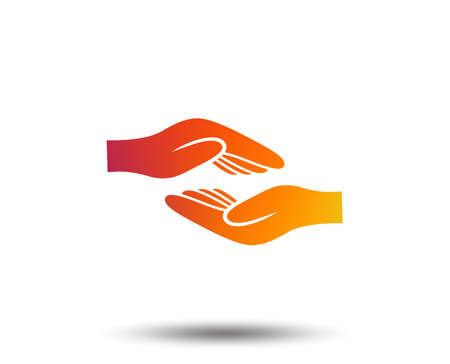 Helping hands sign icon. Charity or endowment symbol. Human palm. Blurred gradient design element. Vivid graphic flat icon.