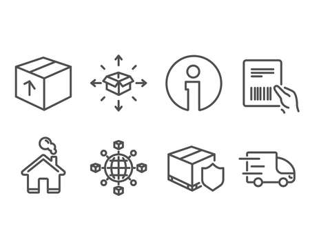 Set of Parcel delivery, Delivery insurance and Package icons. Logistics network, Parcel invoice signs. Logistics service, International tracking, Express service.  Information and Home design elements