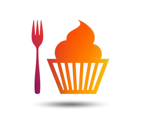 Eat sign icon. Dessert trident fork with muffin. Cutlery symbol. Blurred gradient design element. Vivid graphic flat icon.