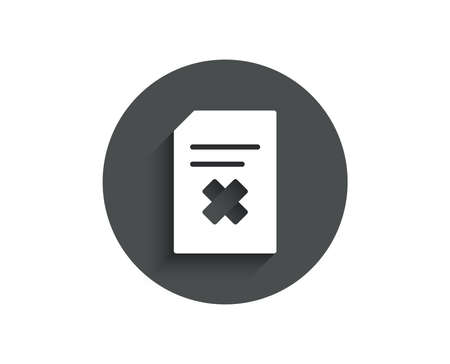 Remove Document simple icon. Delete Information File sign. Paper page concept symbol. Circle flat button with shadow. Illustration