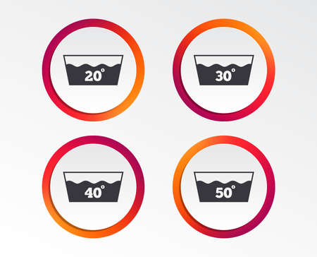 Wash icons. Machine washable at 20, 30, 40 and 50 degrees symbols. Laundry washhouse signs. Infographic design buttons. Circle templates. 向量圖像