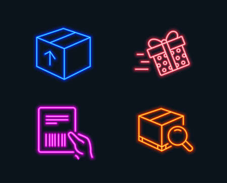 Neon lights. Set of Present delivery, Parcel invoice and Package icons. Search package sign. Shopping service, Delivery document, Tracking service. Glowing graphic designs.