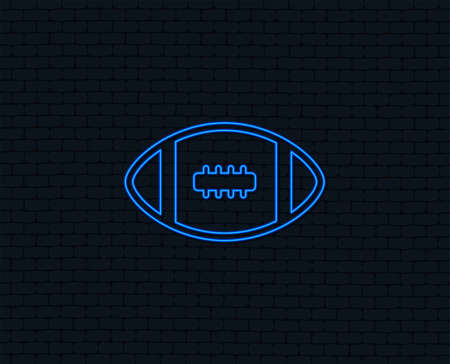 Neon light. American football sign icon. Team sport game symbol. Glowing graphic design. Brick wall.