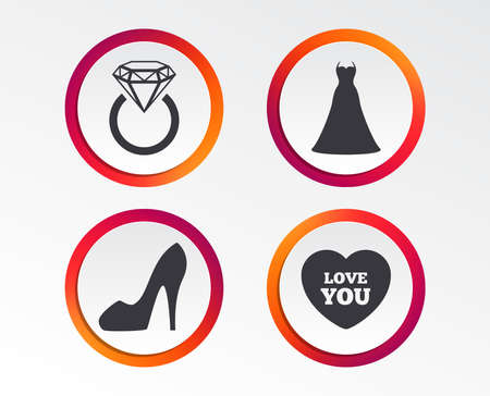 Wedding dress icon. Womens shoe and love heart symbols. Wedding or engagement day ring with diamond sign. Infographic design buttons. Circle templates. Illustration