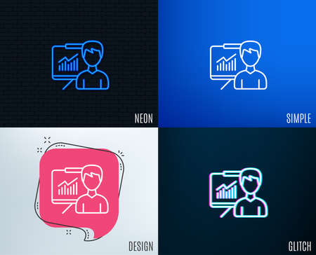Glitch, Neon effect. Presentation line icon. Education board sign. Lecture with Charts symbol. Trendy flat geometric designs. Illustration