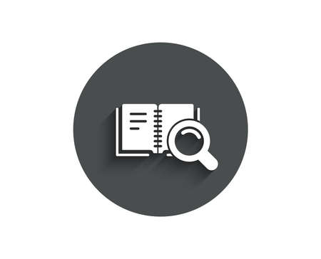 Search in Book simple icon. Education symbol. Instruction or E-learning sign. Circle flat button with shadow.