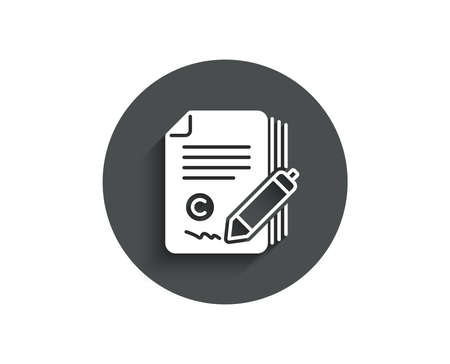 Copywriting simple icon. Ð¡opyright signature sign. Feedback symbol. Circle flat button with shadow.