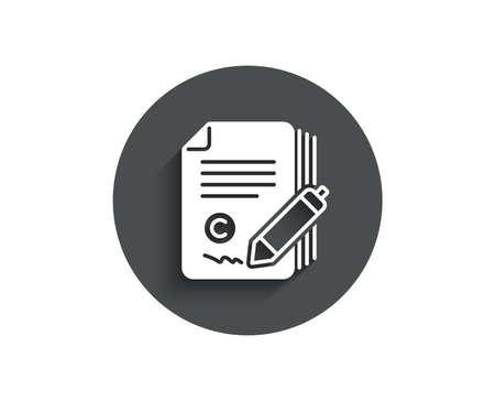 Copywriting simple icon. Сopyright signature sign. Feedback symbol. Circle flat button with shadow. Illusztráció